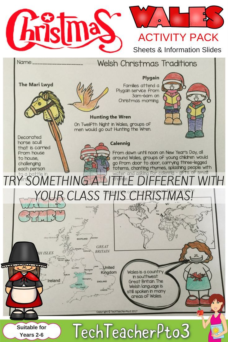 Are you tired of the same old Christmas Around the World countries that are visited? Why not try something a little different and take your students to visit Wales! Christmas in Wales is a handy activity pack perfect for the primary school teacher and contains information sheets and activities plus a handy traditional recipe. Explore the Welsh language and Welsh traditions.