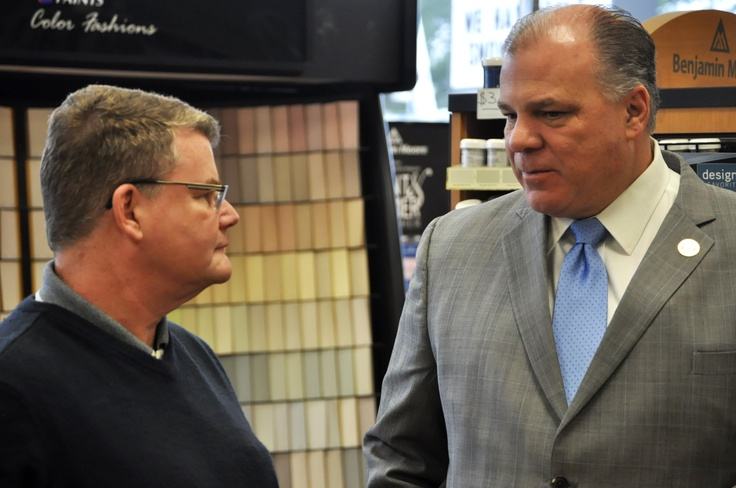 As part of his Small Business Tour, Senate President Steve Sweeney, D-Gloucester, Cumberland and Salem, talks with Jim Haws, owner of Kucker Haney Paint Company on Nottingham Way in Hamilton Township about the challenges he faces as a small business owner in the State of New Jersey.