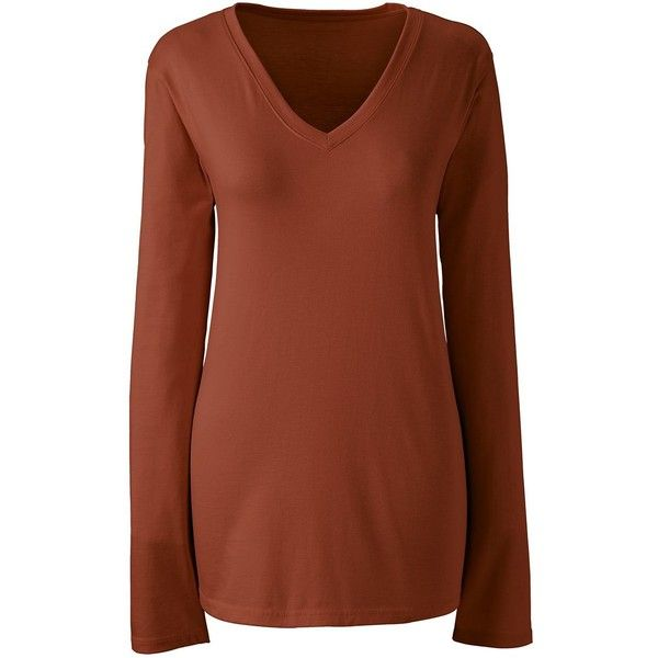 Lands' End Women's Plus Size Petite Relaxed Supima V-neck T-shirt ($30) ❤ liked on Polyvore featuring tops, t-shirts, womens plus size t shirts, plus size v neck t shirts, petite t shirts, plus size tees and v neck tee