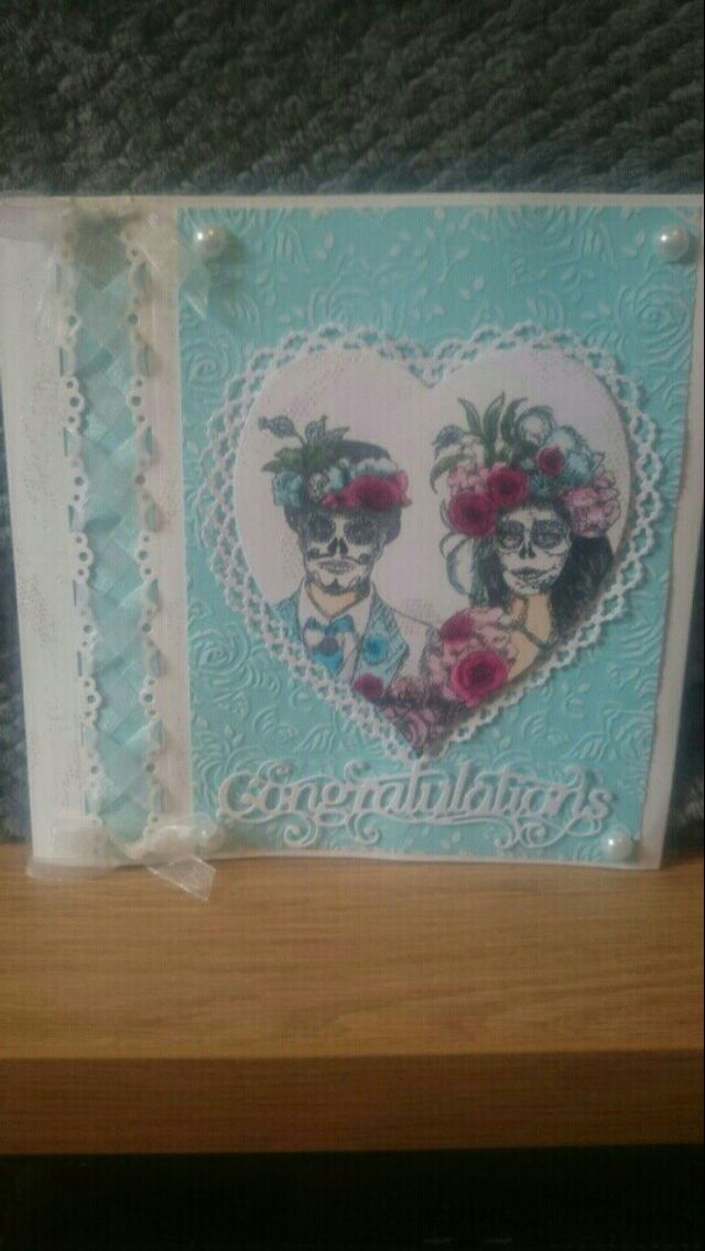 One of my designs using Sheena Douglas Day of the Dead stamps and Tattered Lace and Crafters Companion dies...