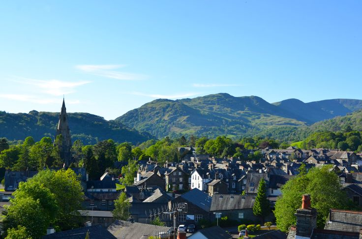 View from the roof of Elder Grove on a beautiful day, looking over Ambleside to Fairfield Horseshoe