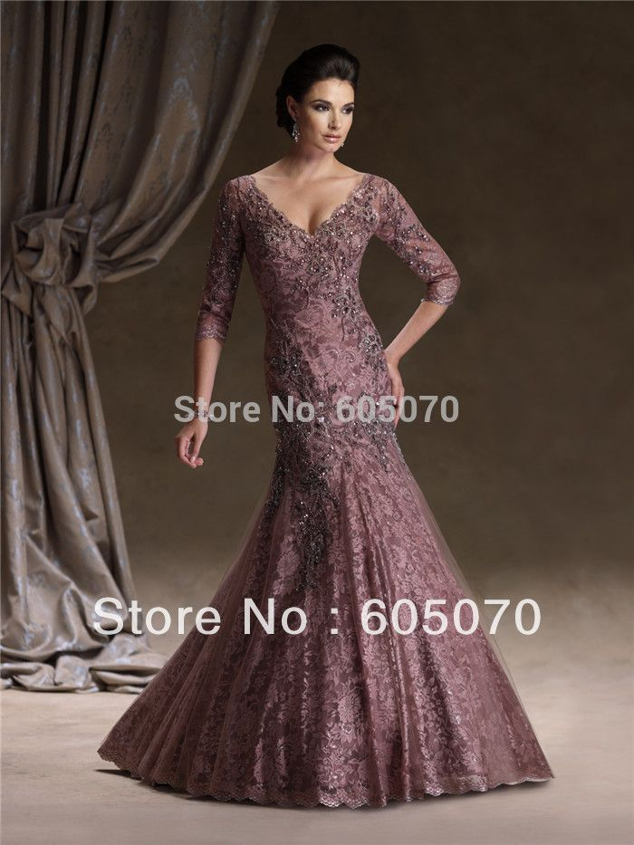 Sexy V Neckline Appliques Beaded Floor Length Mermaid Mother Of The Bride Dresses With Sleeves 2013 New Arrival Prom Dress