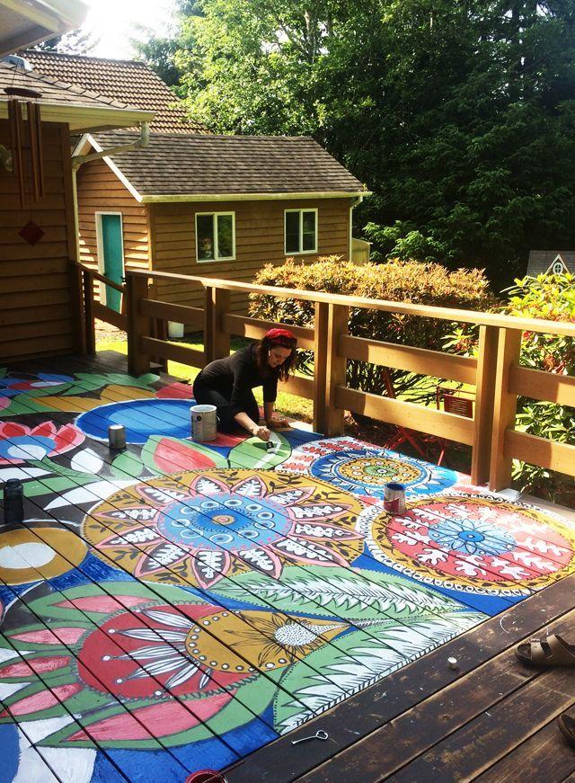 painted deck project. Alisa Burke blog.
