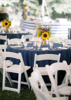Backyard Rehearsal Dinner | The Event Group | Pittsburgh, Simple Elegance, Preppy, Navy and White, Sunflower Centerpieces