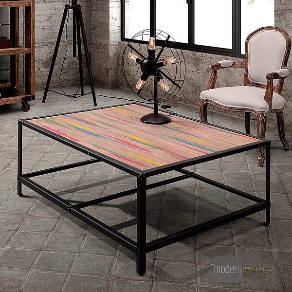 The Sawyer Coffee Table is reminiscent of a modern abstract painting with its fun and funky colours; it is both rustic and contemporary.