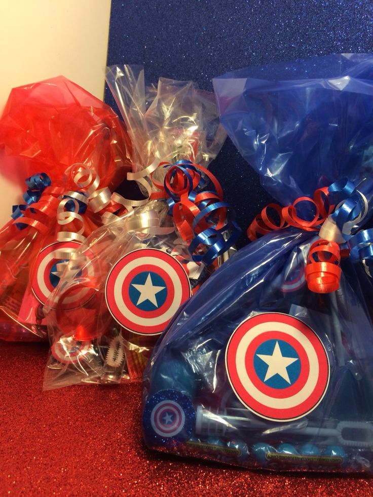 Wow your guests with these handmade party bags! Each toy included is tailored to the Captain America theme!
