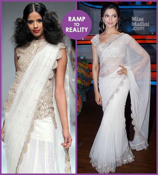 Ramp to Reality: Deepika Padukone in Anand Kabra whitr saree