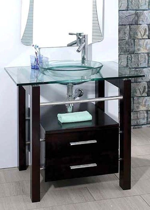 "Vanity And Sink Combination Small Bathroom: 28"" Bathroom Tempered Clear Glass Vessel Sink & Vanity"