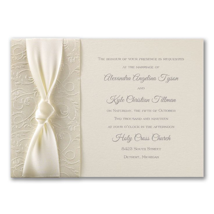 not on the high street winter wedding invitations%0A An band of embossed ecru shimmer paper and a wide satin ribbon add rich  beauty to this wedding invitation