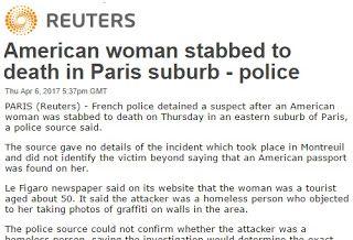 Παρίσι: Άστεγος σκότωσε αμερικανίδα τουρίστρια που φωτογράφιζε..