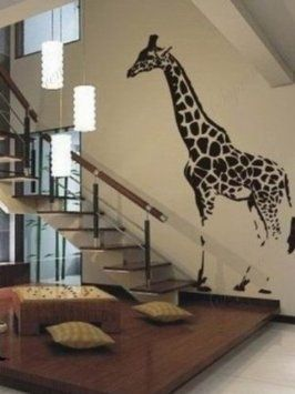 Amazon.com: Made in US - Free Custom Color - Lovely giraffe removable vinyl art wall decals home murals: Home & Kitchen