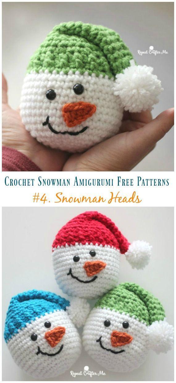 Amigurumi Snowman Heads Crochet Free Pattern – Crochet #Snowman;# Amigurumi; Fre…