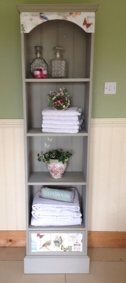 I painted this pine unit in Autentico chalk paint colour Frozen fountain and decoupage the top and bottom in wallpaper.