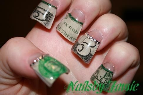flair tip nails | Small-Short Duck/Flare Tips Money Style