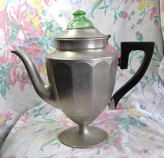 Vintage Coffee Pot With Green Depression Glass Stove Top