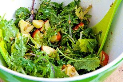 Raw Baby Kale Salad with Apples, Sunflower Seeds, and Lemon-Dijon Vin ...