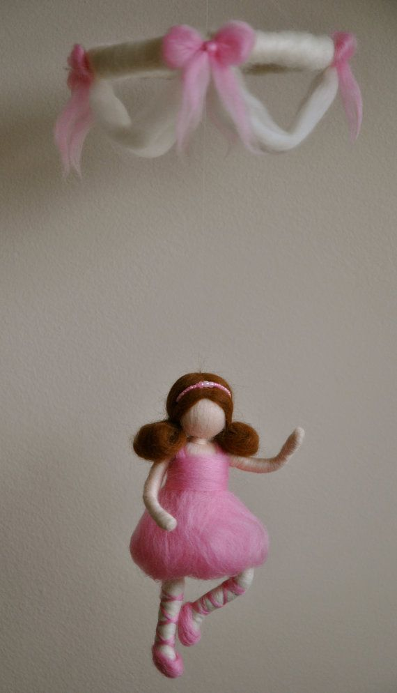 Girls Mobile Waldorf inspired needle felted  by MagicWool on Etsy, $60.00