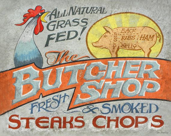 Butcher Shop  Printwith MAT 11 by 14 by ZekesAntiqueSigns on Etsy, $15.00