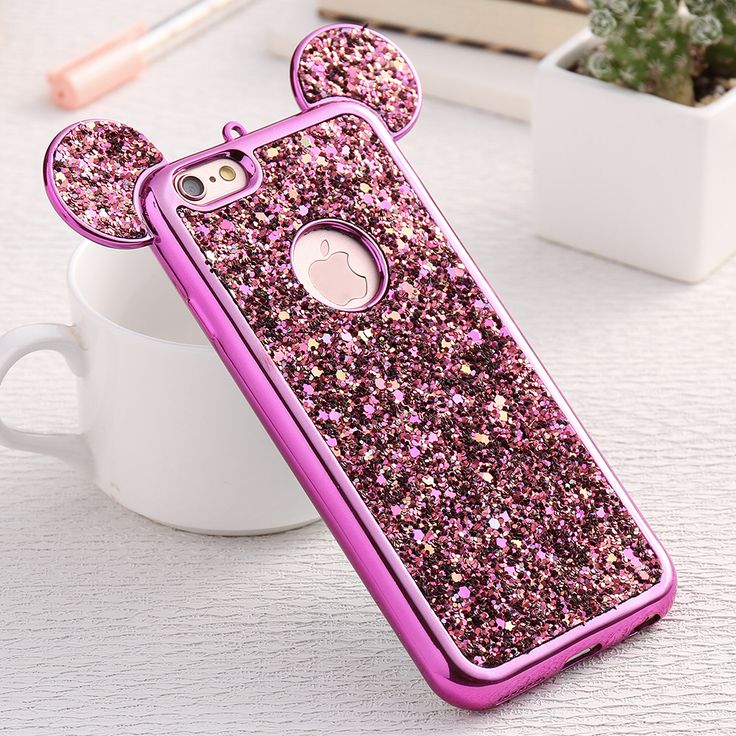 FLOVEME Luxury Glitter Gradient for iPhone 6 6S Case 3D Mouse Ears Silicone Plating Frame Sequins TPU Cover Shell for iPhone 6s