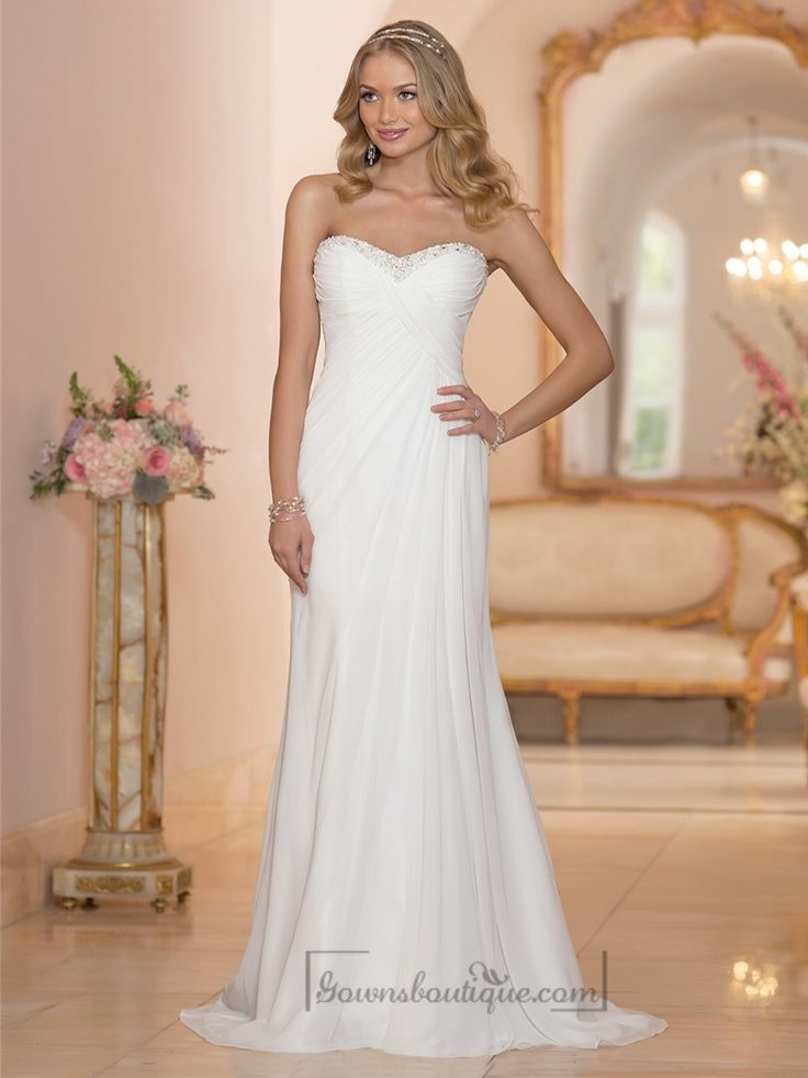 Chiffon Sheath Sweetheart Criss Cross Ruched Bodice Wedding Dresses Corset Back