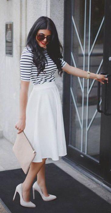 White Midi Skirt w/flats