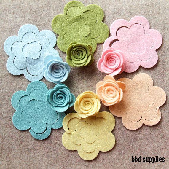 Wool Dream - Medium 3D Rolled Roses - 12 Die Cut Wool Blend Felt Flowers - Unassembled Rosettes