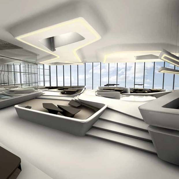 Dubai opus interior design designed by zaha hadid for Office design zaha hadid