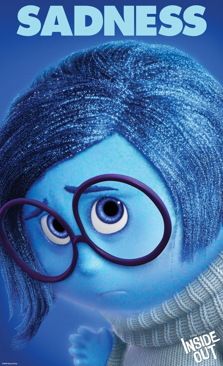 The first character poster from Disney/Pixar's 'Inside Out': Sadness I am her. Not because I am sad but I look like and dress like her...: