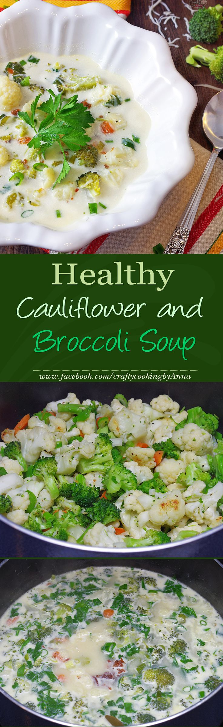 Healthy Cauliflower and Broccoli Soup! #Low Carb #Low Cal #Delicious #Hearty