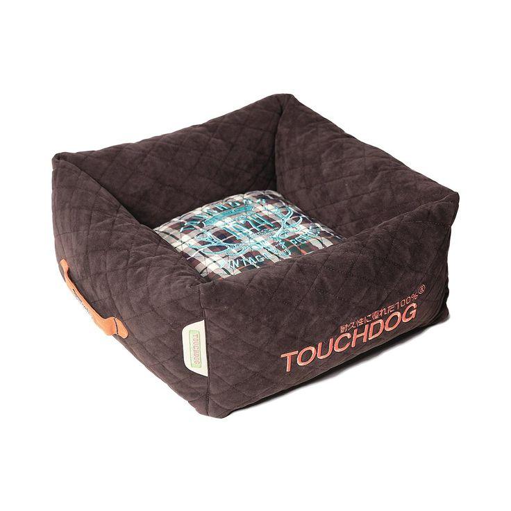 Touchdog Exquisite-Wuff Posh Rectangular Diamond Stitched Fleece Plaid Dog Bed - Dark Brown