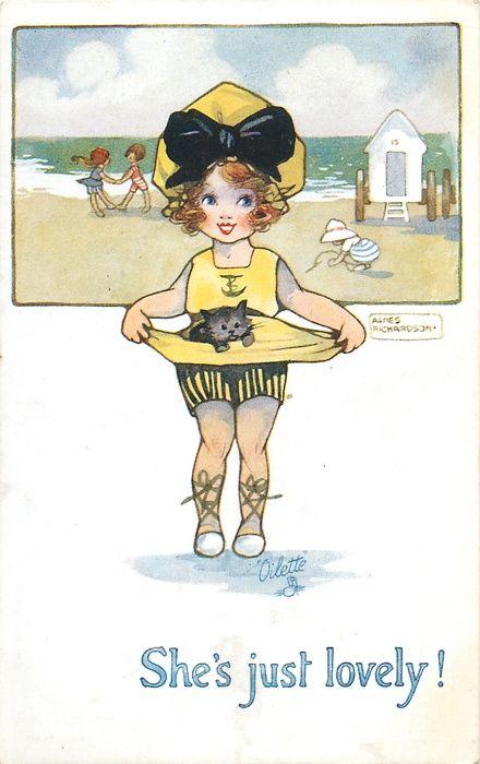 SHE'S JUST LOVELY!girl in bathing suit carries kitten, seaside scene behind Art: Agnes Richardson