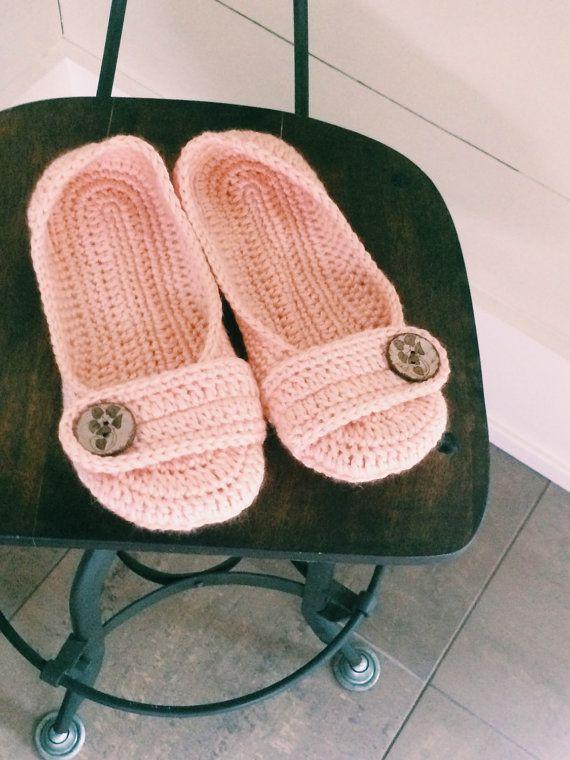 Womens crochet slippers button slippers by jaysboutiquecrochet