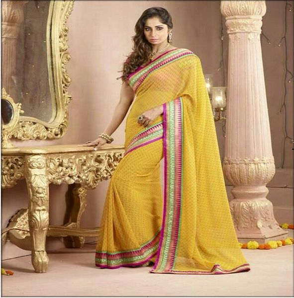 Stylish heavy border Saree | Flat 15% Off Shop Now@ ▶ http://www.fashion4style.com/woman/clothing/designer-sarees/stylish-heavy-border-saree/pid=MjU2