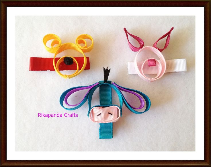Winnie the Pooh Piglet and Eeyore Hair clip Set by RikapandaCrafts