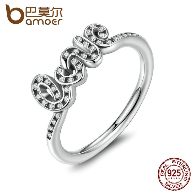 BAMOER High Quality 925 Sterling Silver Signature Of Love Ring, Clear CZ Finger Rings for Women Wedding Gift PA7174
