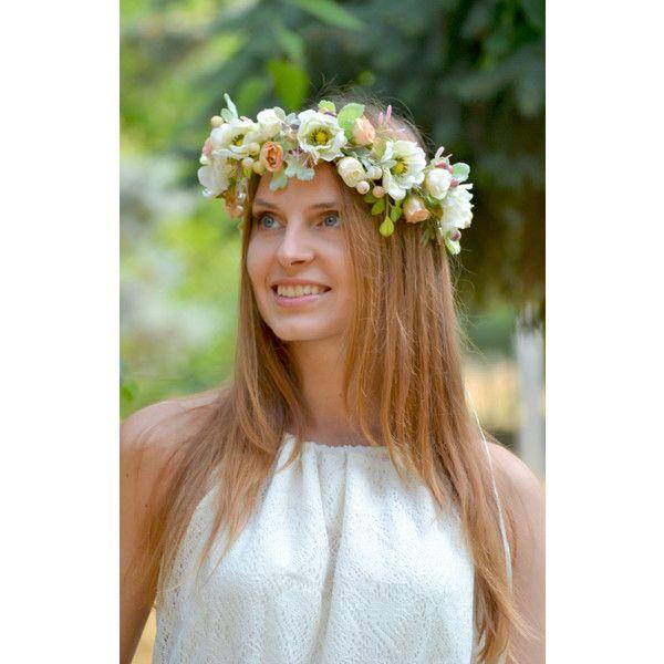 Floral crown Bridal flower crown Anemone wedding halo Bridal headband... (£36) ❤ liked on Polyvore featuring accessories, hair accessories, white flower crown headband, boho flower crown, bridal flower crown, head wrap headband and headband hair accessories
