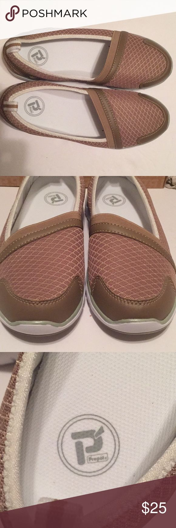 Propet Travellite Womens Slipon Shoe Taupe Size 7W Propet Travellite Womens Slip-on Shoe Taupe Size 7W Taupe with white soles Brand new in original box  Engineered for comfort. Designed for life. Propet Shoes