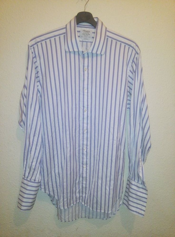 TM Lewin Finest Two Fold 100% Cotton Luxury Striped Shirt Double Cuff 16.5 34.5