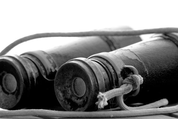 Old Vintage Binoculars in Black & White by PlayfulPixieStudio