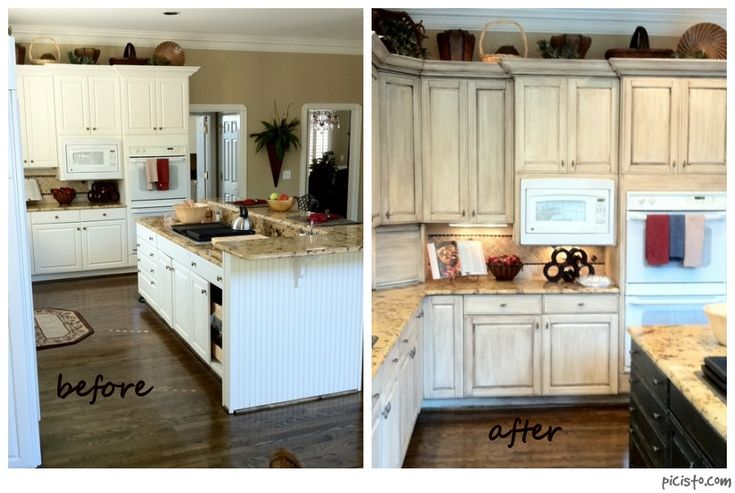 Painted kitchen cabinets before and after melamine for Annie sloan painted kitchen cabinets
