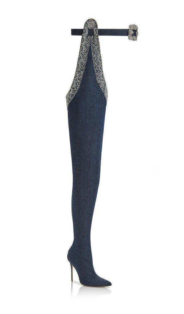 Rihanna x Manolo Blahnik thigh high boots