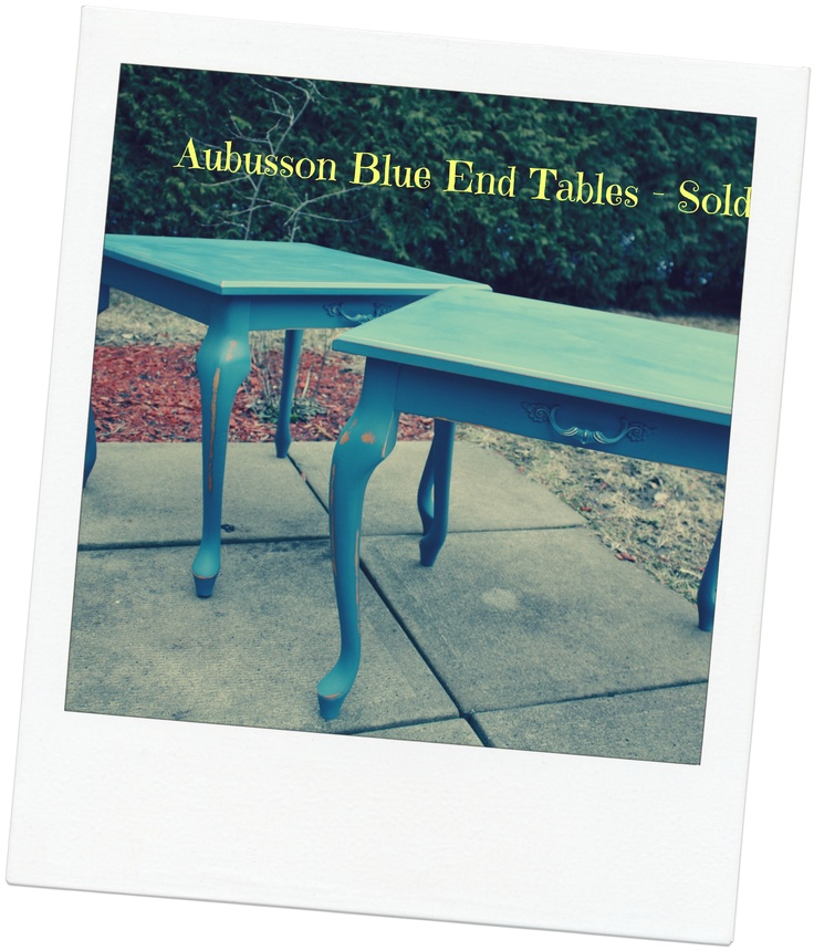 Matching end tables - ASCP Aubusson Blue