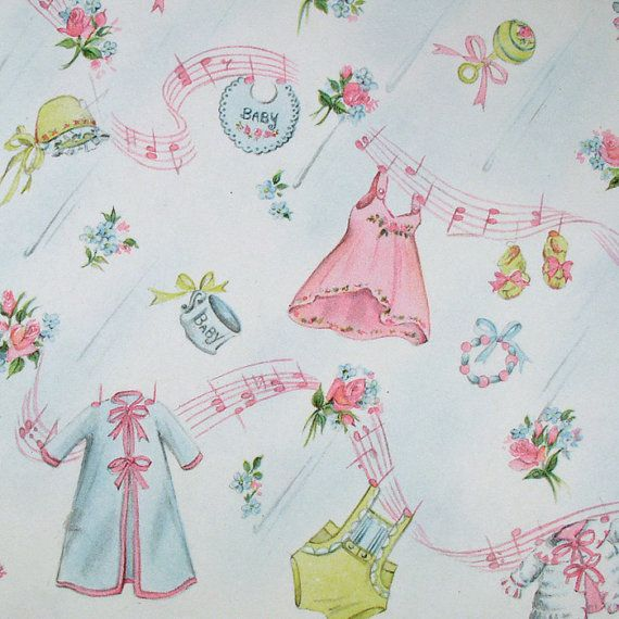 Delightful Vintage New Baby / Baby Shower Paper. Too Cute!