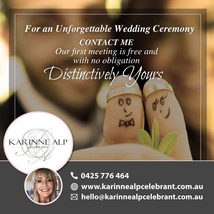 Are you recently #engaged? Looking for a #WeddingCelebrant for your special day?  For an Unforgettable Wedding Ceremony, get in touch with me.  Let us meet to discuss how together, we can make your #ceremony #distinctivelyyours…  Our first meeting is free and with no obligation  #KarinneAlpCelebrant #MorningtonWeddingCelebrant #MelbourneWeddingCelebrant #BridesOf2017 #BridesOf2018