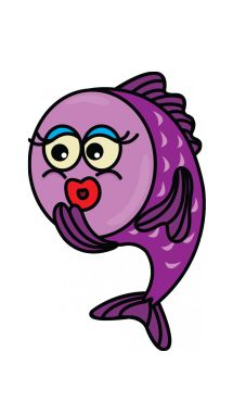 Draw a cute purple cartoon fish!  http://drawingmanuals.com/manual/how-to-draw-a-cute-fish/