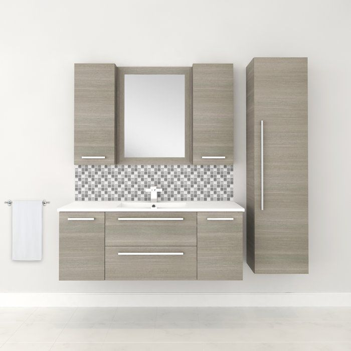 Silhouette 48 Wall Mounted Single Bathroom Vanity Set With