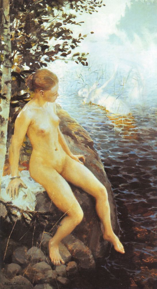 Akseli Gallen-Kallela, 'Aino' triptych (right-hand panel) Aino has decided to take her own life rather than marry the ancient Väinamöinen. She sits on the shore and listens to the song of the water-maidens of Vellamo.