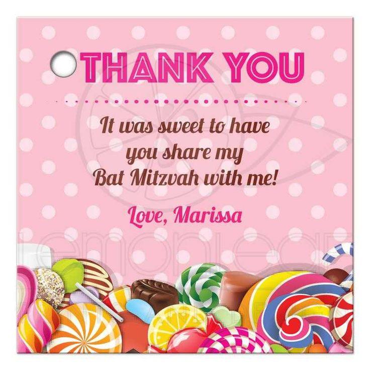 Bat Mitzvah Thank You Favor Tag - Sweet Pink Polka Dot Candy Buffet