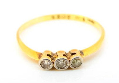Art Deco 1946 Ladies Trilogy Diamond Engagement Ring in 18ct Yellow and White Gold FREE POSTAGE Included by GloryBeVintageWares on Etsy