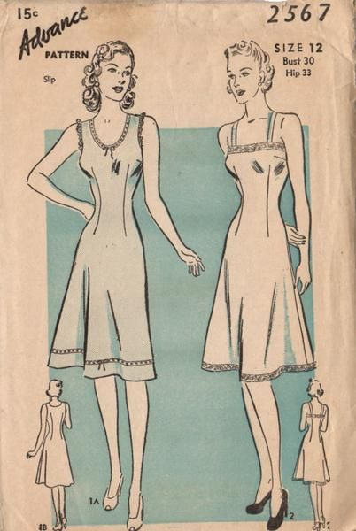 Vintage 1940s Advance Sewing Pattern 2567 Ladies Slip Camisole Top Bust 30 Hip 33